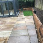 Laying the paving slabs