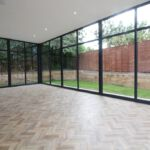 Herring bone floor in the conservatory