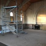 Work beginning on the first floor of the church at Skidby