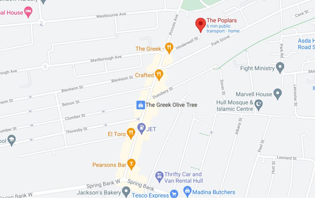 Map of the Poplars on Hinderwell Street Hull Full size